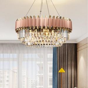 Image 2 - Роскошная Современная Люстра из розового золота, Клубная дуплексная вилла, дизайнерская модель для комнаты, гостиной, круглая Хрустальная Светодиодная лампа для свадебного декора