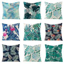 Pillow case 45*45CM Tropical Plant Leaf Linen Pillowcase Home Sofa Pillow Cushion Cover Decorative Pillowcase cute kitten cushion cover 45cm x 45cm cotton linen square home decorative sleeping cat throw pillow case sofa car office decor