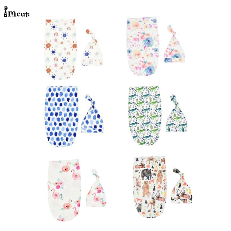 Infant Baby Sleeping Bag Bedding Stuff Newborn Swaddle Blanket Sack Baby Cocoon Swaddle Wrap With Matching Top Knot Hat