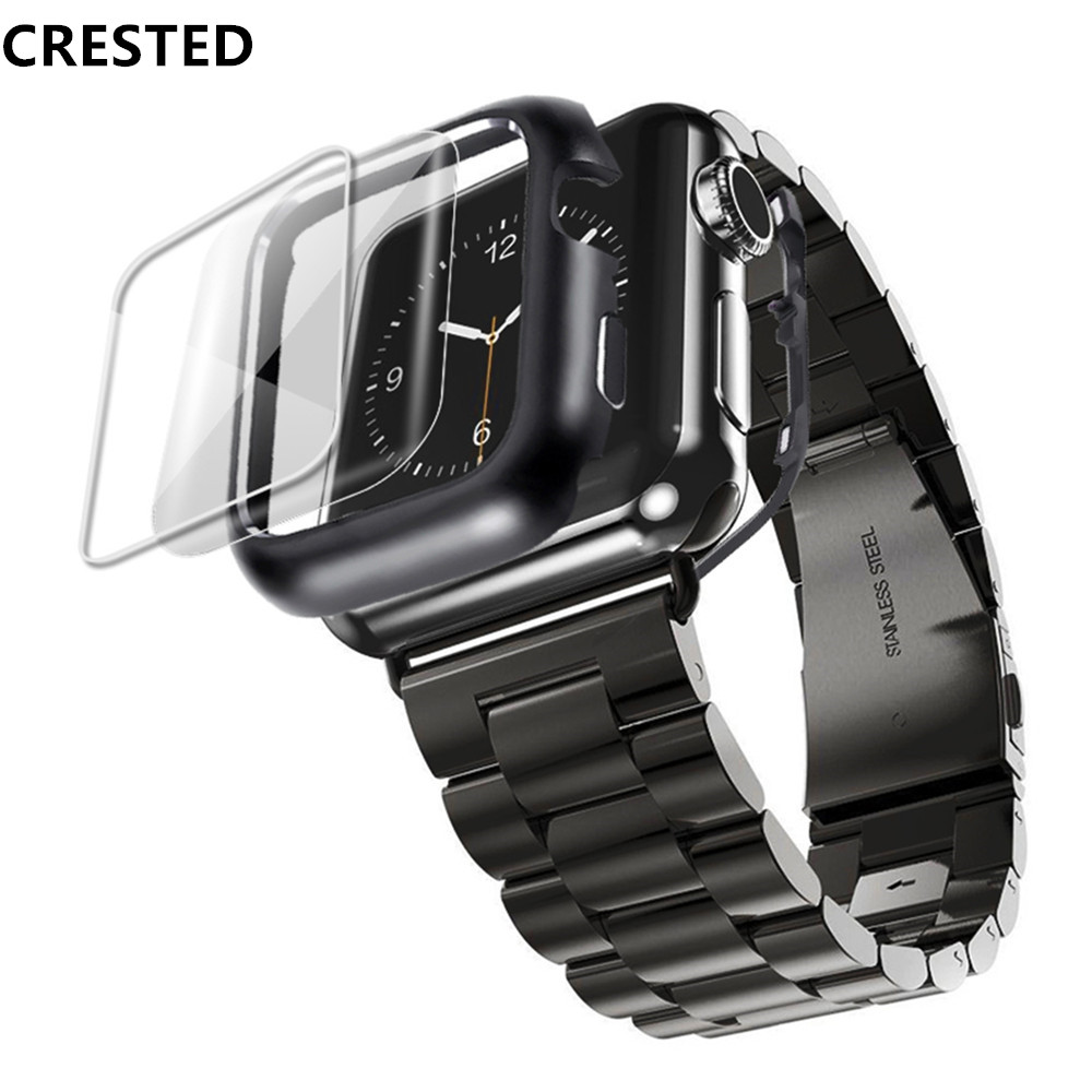 Stainless Steel Case+Strap For Apple Watch Band 44mm/40mm Apple Watch 5 4 3 Band Iwatch Band 42mm/38mm Bracelet Watchband+film