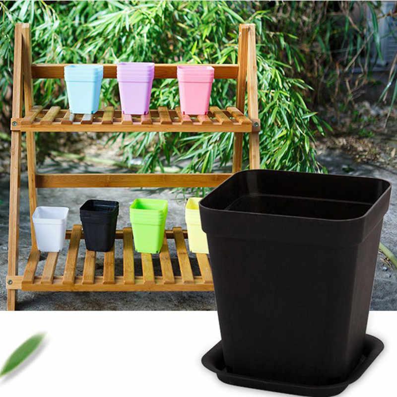 1 Pcs Incluindo uma Bandeja de Jardinagem Mini Vaso de Flores de Plástico Quadrado Vaso De Flor Plantador de Bonsai Vaso de Plantas Pote de Berçário Cor Aleatória