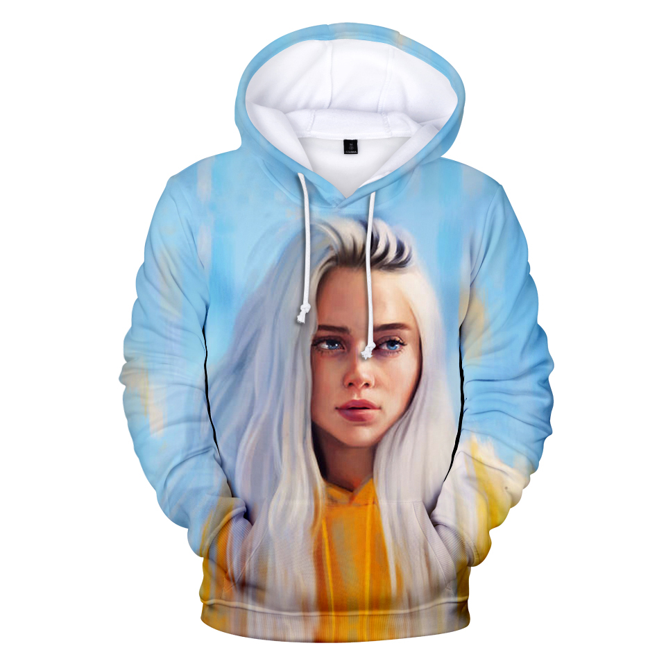 Billie Eilish Zip Hoodie Sweatshirt Jacket Casual 3D Printed Sweater Coat 9 size