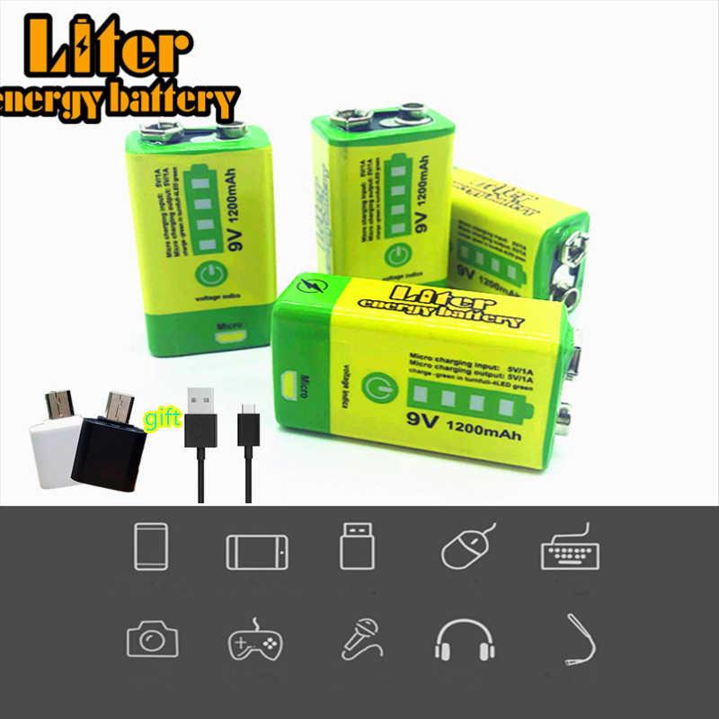 9V 6F22 USB 1200 リチウムイオン二次電池煙警報ワイヤレスマイクギター EQ インターホンマルチメータ銀行電源