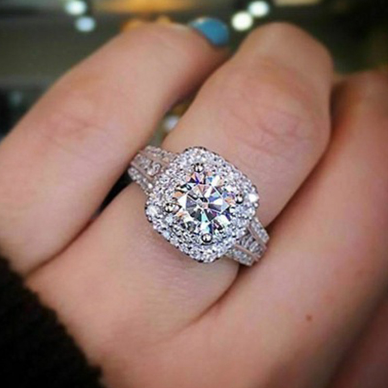 Luxruy Square Zircon Stone Ring For Women Wedding Party Gift Female Shining Rhinestone Engagement Rings