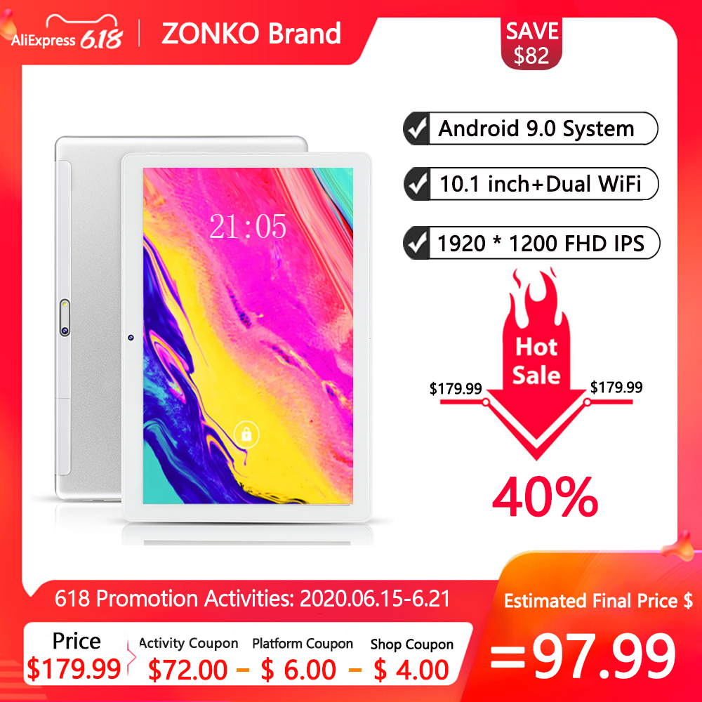 ZONKO Tablets 10 Inch Android 9.0 Tablet PC 1920x1200 Octa Core 5G WiFi 2GB RAM 32GB ROM Tablet GPS Dual WiFi Cameras Free Gift