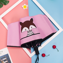 Fashion Creative Cartoon Children Cute Little Fox Umbrella Ladies Sunscreen Black Plastic Coated Gift