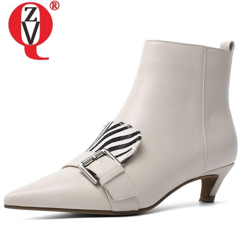 ZVQ 33-43 taille chaussures pour femmes véritable cuir de vache hiver zèbre rayures motif cheveux de cheval couleur mélangée talon bas chaussons pointus