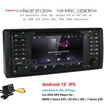 Android 10.0 4G 64G 1 DIN GPS player DVD Navi for BMW Series 5 E39 BMW X5 E53 M5 E38 supports Bluetooth music radio wifi rds obd image