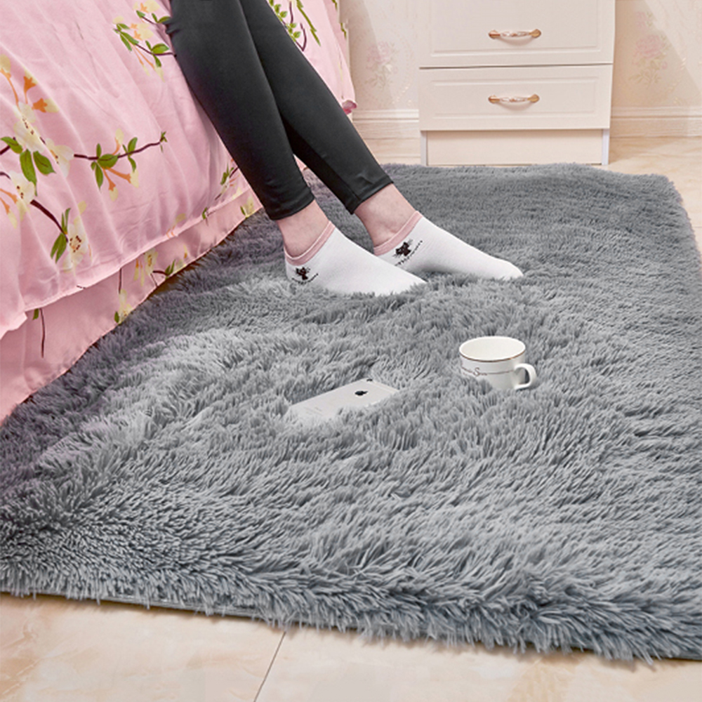 80x120CM Plush Carpets For Living Room Soft Fluffy Rug Solid Anti-Slip Carpet Bedroom Sofa Coffee Table Floor Mat Cloakroom Rugs
