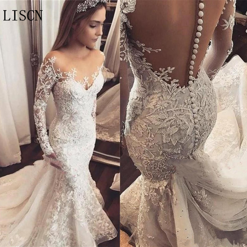 Princess Mermaid Wedding Dress Custom Luxurious Robe De Mariee Crystal Long Sleeve Beaded Lace Applique Bridal Gowns Illusion