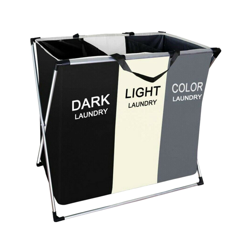 HLZS-Laundry Hamper Foldable Laundry Basket With 3 Section Large Dirty Clothes Sorter