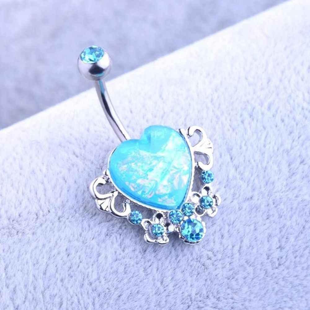 Kristal Hati Belly Button Cincin Perut Bar Pusar Piercing Perhiasan Wanita Retro Perhiasan Tindik Pusar Perut Tubuh Perhiasan