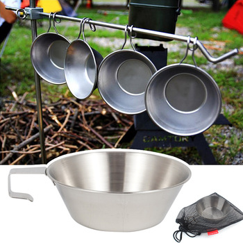 Outdoor Stainless Steel Bowl Camping Fixed Handle Picnic  Mountaineering Water Cup Travel Barbecue Portable cookware mug
