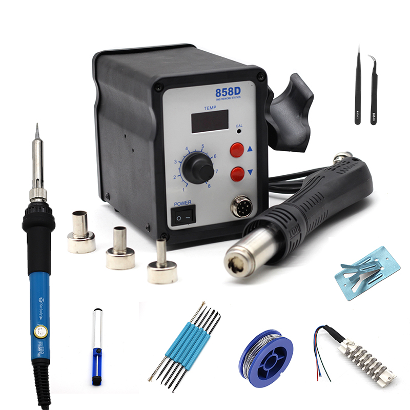 858D Hot Air Soldering Station 220V LED Digital Solder Heat Gun Rework Station ESD SMD Blower Hair Dryer Hairdryer Soldering