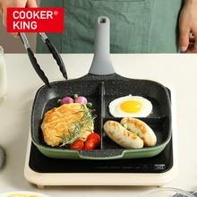 Антипригарная сковорода для завтрака COOKER KING, сковорода-гриль, многофункциональная сковорода для омлет, подходит для индукционных блюд с ру...