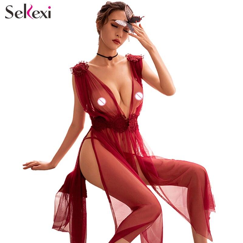Kadın erotik pijama seksi iç çamaşırı G-string uzun naylon gecelik Set bayanlar şeffaf Babydoll meme pozlama gece elbisesi