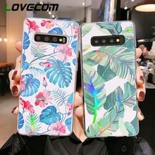 LOVECOM Vintage flores láser hojas funda para Samsung S10 S9 S8 Plus A50 A70 Note 10 Pro a prueba de golpes suave IMD cubierta trasera del teléfono