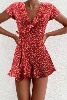 Vestido corto Floral con volantes y cuello en V para mujer, minivestido de verano, elegante, con flores 1