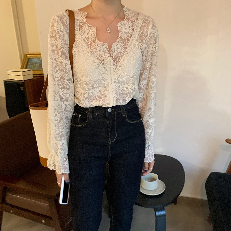 H23c91664ef8e44e5b86cd4ab5a1de3d0t - Spring / Autumn V-Neck Long Sleeves Floral Lace Blouse
