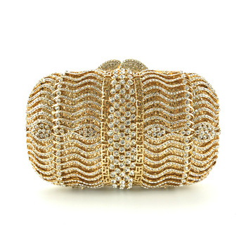 Luxury Gold Pillow Evening Bag Ladies Fashion Party With Rhinestone Hard Surface Clutches Designer Shoulder Pouch Wedding Purse