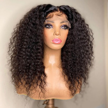 Peluca de cabello rizado con malla Frontal para mujer, postizo de 26 pulgadas con densidad de 180, sin pegamento, pelo sintético Natural de color negro, para uso diario