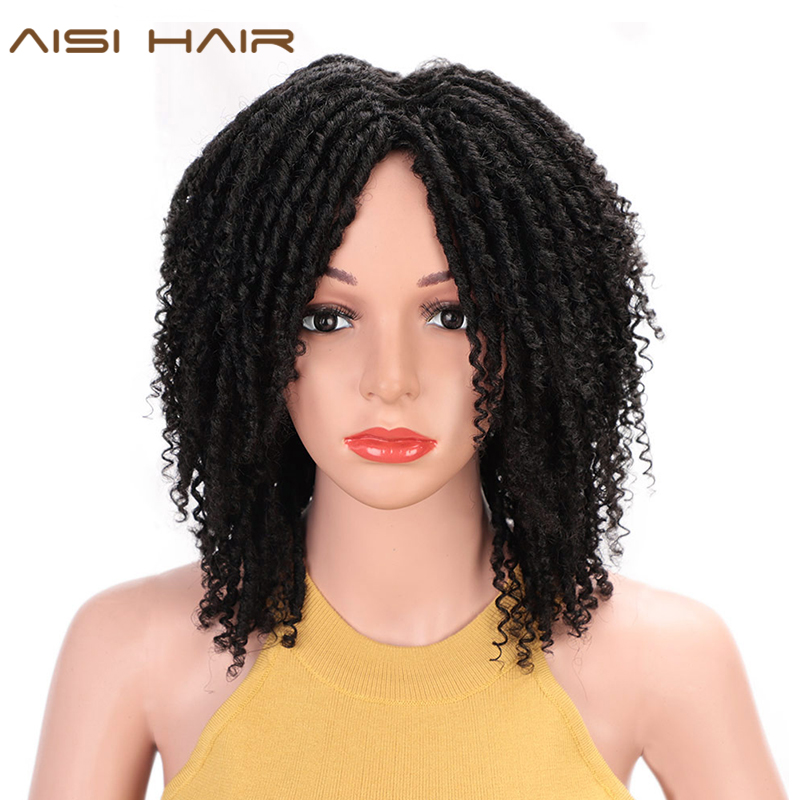 AISI HAIR 14'' Soft Dreadlocks Hair Wig Short Synthetic Wigs For Black Women Black Brown Crochet Braids Wigs Heat Resistant
