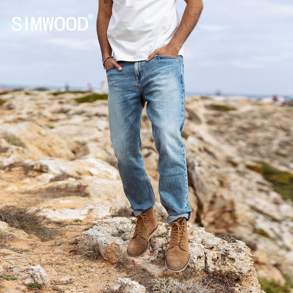 SIMWOOD 2020 Spring New Jeans Men Light Wash Straight Regular Slim Fit Denim Trousers Plus Size Brand Clothing SI980725