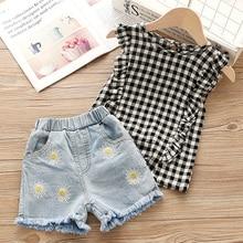 Summer Baby Girls Clothes White Jacket Flower Decoration+Denim Shorts Children Clothing