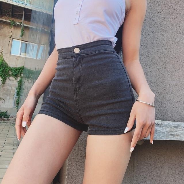 Skinny Denim Shorts with high waist