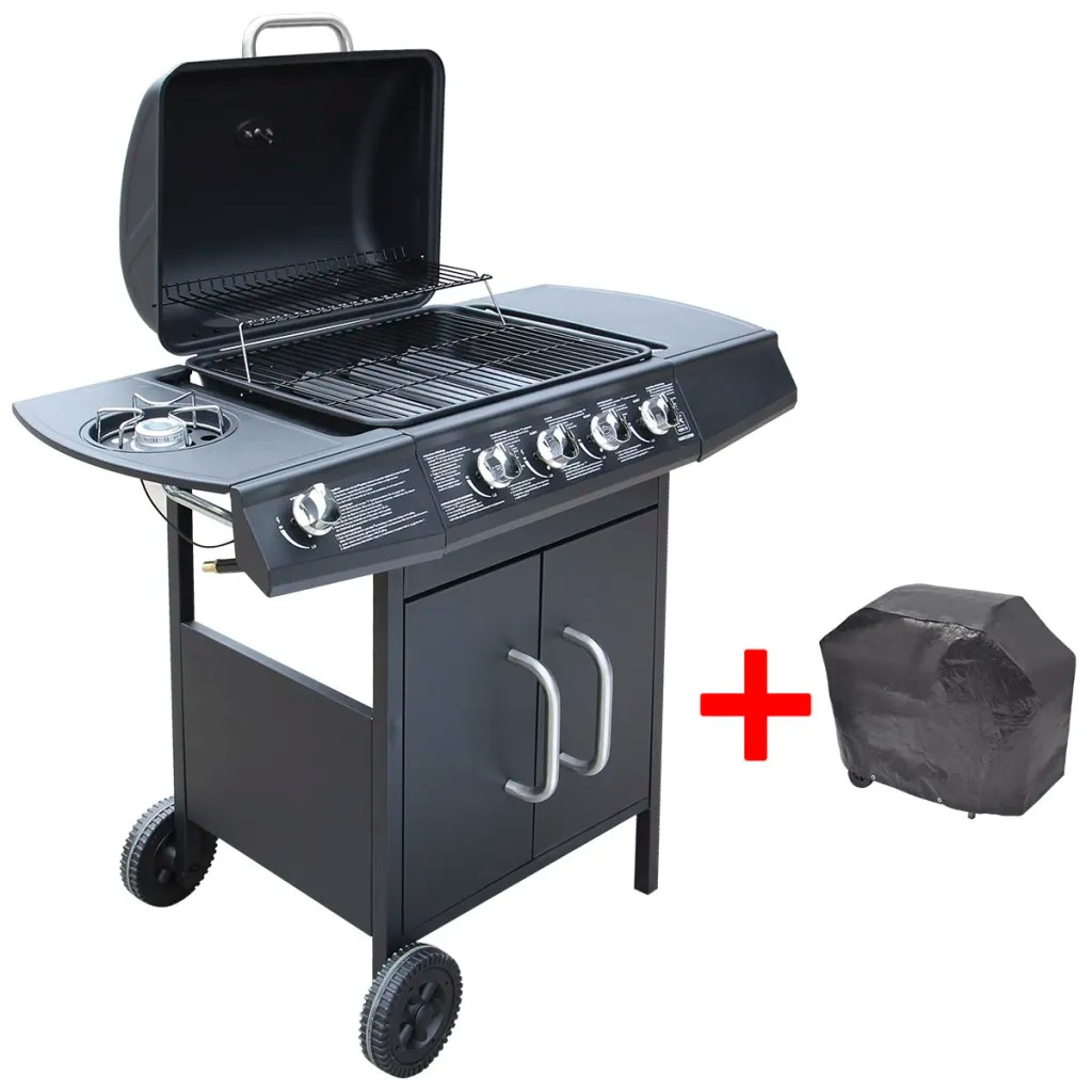 VidaXL Gas Barbecue Grill 4+1 Cooking Zone Black SPCC + Stainless Steel A Spacious Cabinet For Storing Accessories