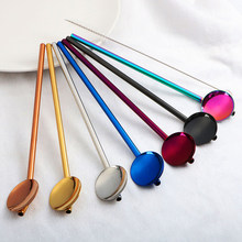 192cm Long Straw Spoon Portable Gold Tea Scoop Reusable Colored Stainless Steel Straws Cocktail Coffee Stirring Spoon(China)
