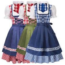 Vestidos de mujer Retro Vintage vestidos de verano 2 uds conjunto Oktoberfest alemán bávaro disfraces vestido sin mangas + delantal Cosplay fiesta