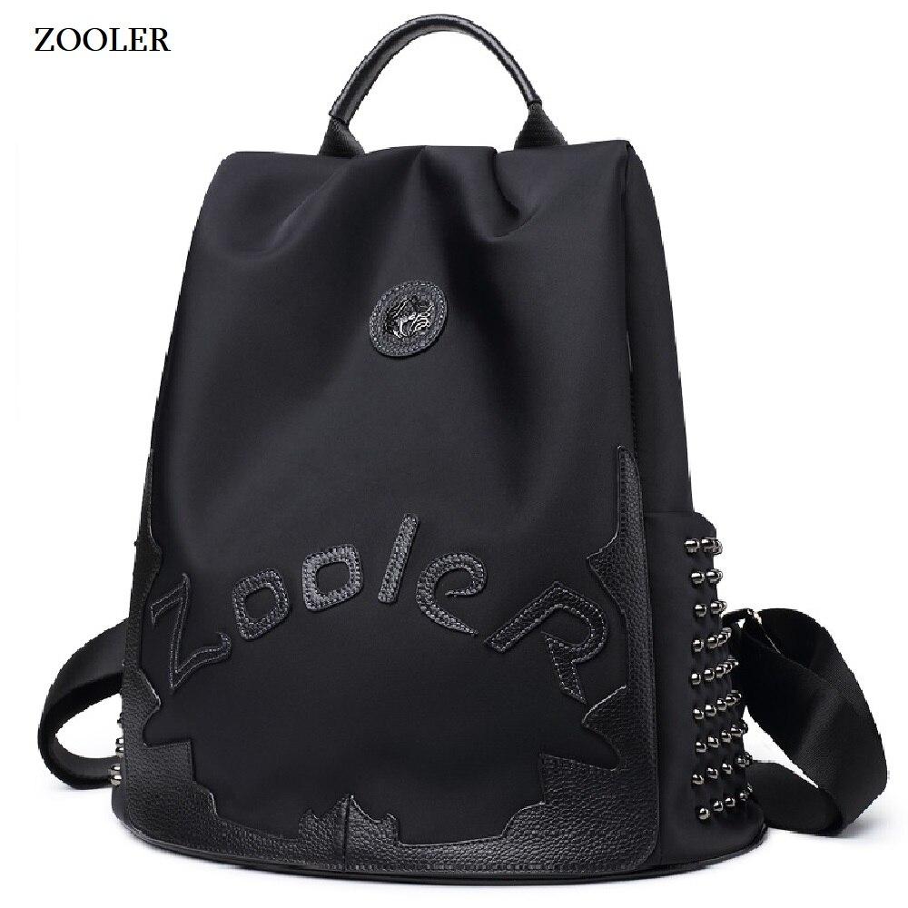 Zooler top Nylon i plecak ze skóry wołowej luksusowe plecaki duża pojemność plecak dla kobiet list plecaki torby podróżne pani Bolsas #8395 w Plecaki od Bagaże i torby na  Grupa 1