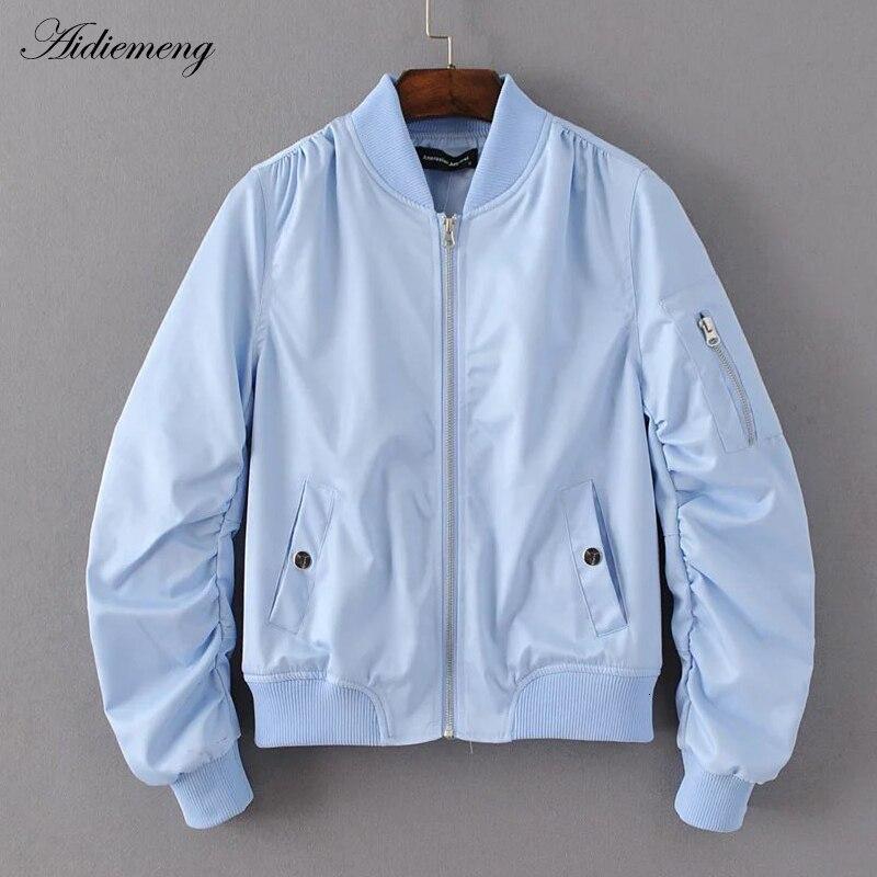 Spring accidental bomber   jacket   women's   basic     jacket   pocket zipper fan   jacket   fashion women's overcoat neck