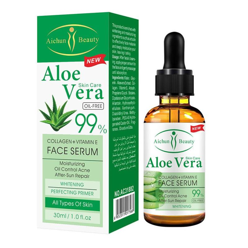 Face Serum Aloe Vera Gel Vitamin C Hyaluronic Acid Snail Serum Facial Moisturizing Skin Care Whitening Anti Wrinkle Cream 30ml