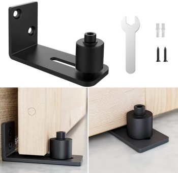 Black New Sliding Barn Door Bottom Adjustable Floor ail Floor Guide Roller Locker Home Hardware Accessories