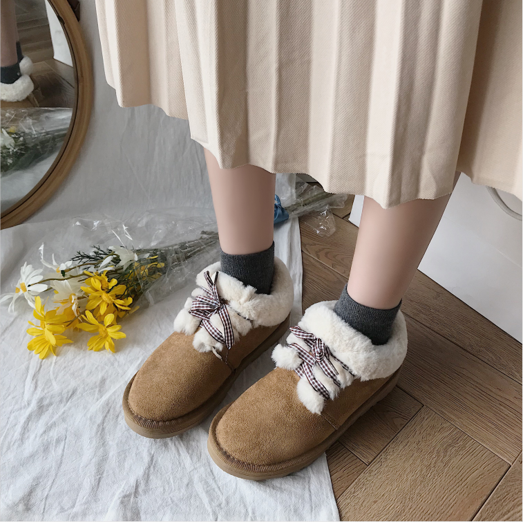 New Autumn Flat Keep Warm Ankle Boots Women Lace Up Short Plush Snow Boots Shoes Woman Winter Cotton Shoes Women Chaussure 2019 63