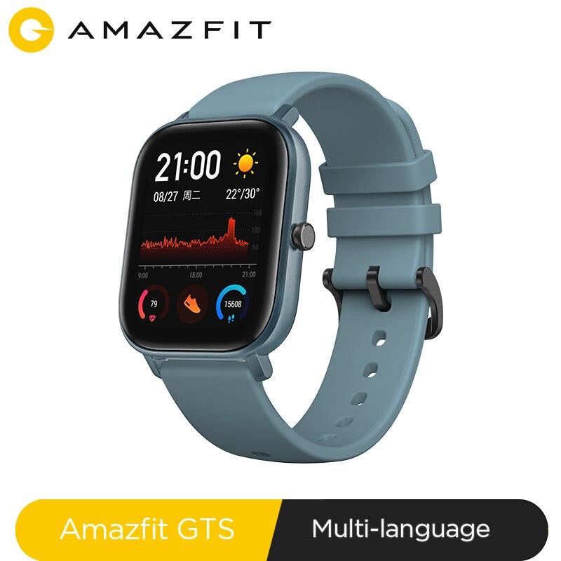 Versão global amazfit gts relógio inteligente 5atm à prova dwaterproof água natação smartwatch novo 14 dias bateria controle de música para xiaomi ios telefone