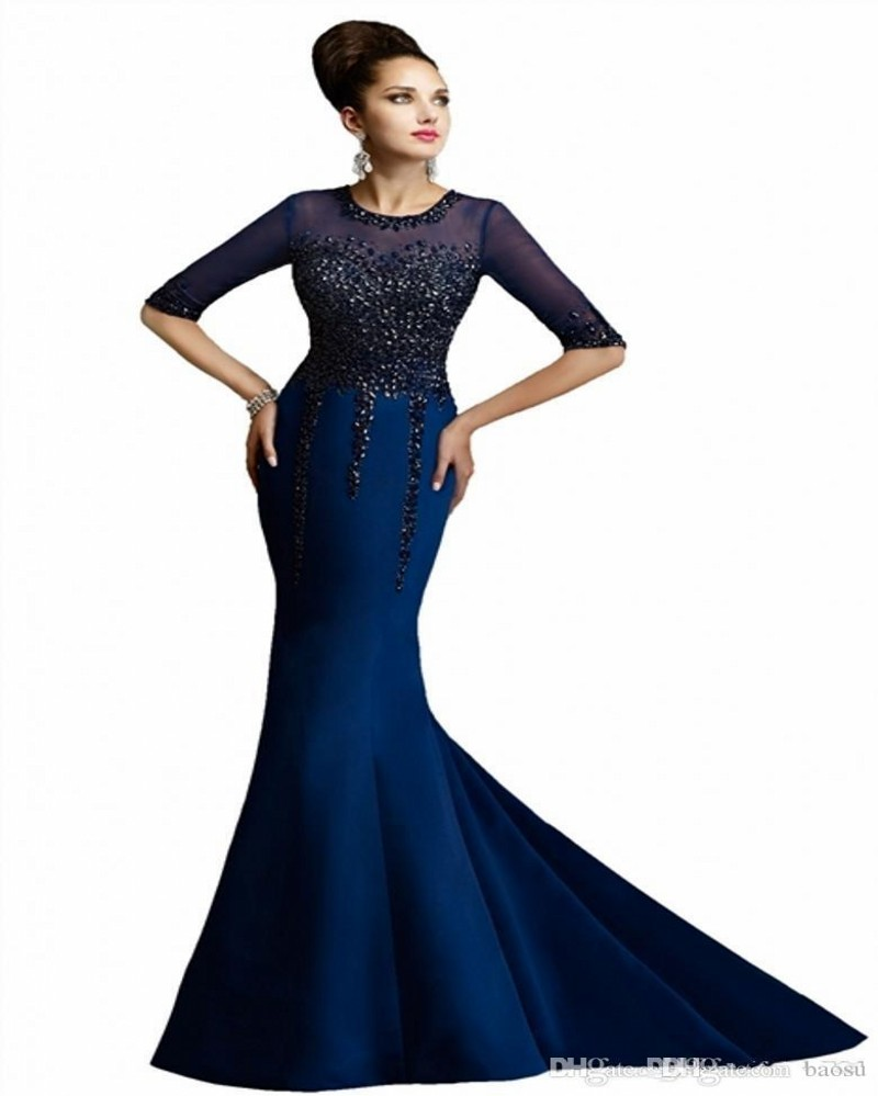Half Sleeve Robe De Soiree Mermaid Evening Gown 2018 Elegant Appliques Beads Party Formal Gowns Mother Of The Bride Dresses