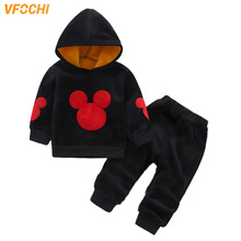 VFOCHI New Boys Girls Clothing Sets Autumn Winter Velvet Hooded + Pants Set 1-6Y Kids Clothes 2Pcs Unisex Boys Girls Clothes Set kids winter clothing sets for 3 10y boys and girls hooded 90