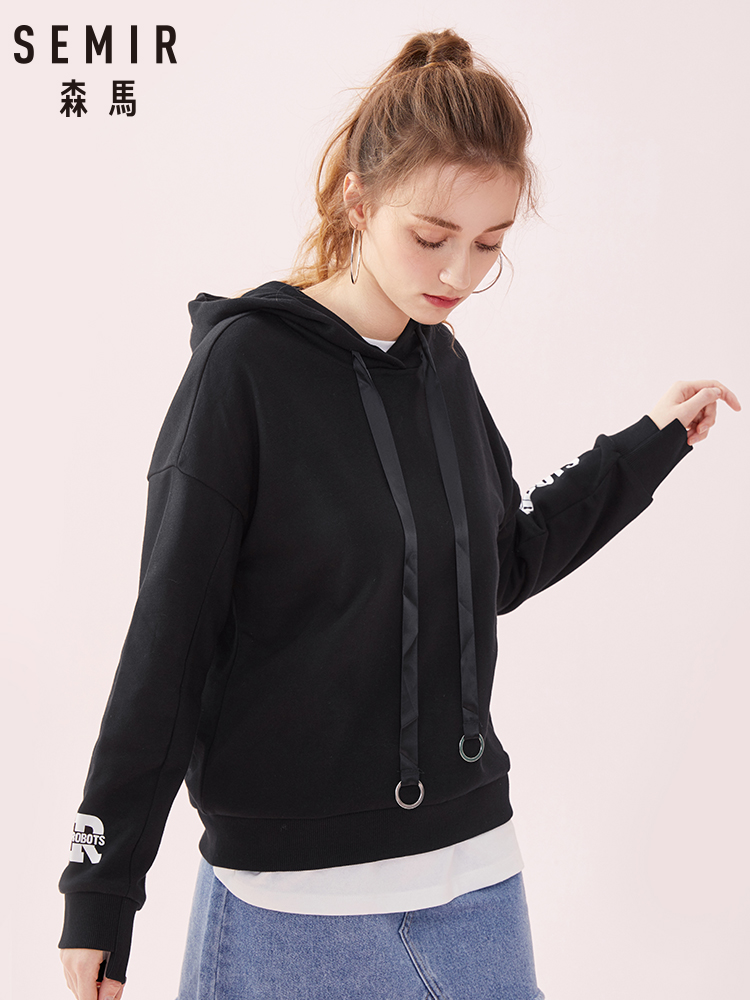 Semir Hoodies Female Winter Ulzzang Long Sleeve Hooded 2019 Top Chic Loose Oversize Shirt Printing Tide Cotton Sweatershirt