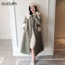 2019 New Granule Cashmere Sheep Shearing Coat Female Long Section Artificial Fur Composite One Korean  Version