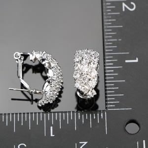 Image 3 - สีขาวเงิน 925 งานแต่งงานเครื่องแต่งกายชุดเครื่องประดับสร้อยข้อมือต่างหูจี้สร้อยคอแหวนชุดเครื่องประดับของขวัญกล่อง