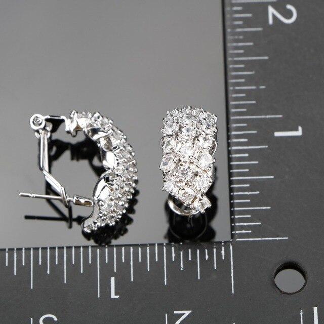 Фото набор свадебных украшений из серебра 925 пробы с белым цирконием