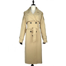 Women long trench coat Double breasted lapel Black red Khaki