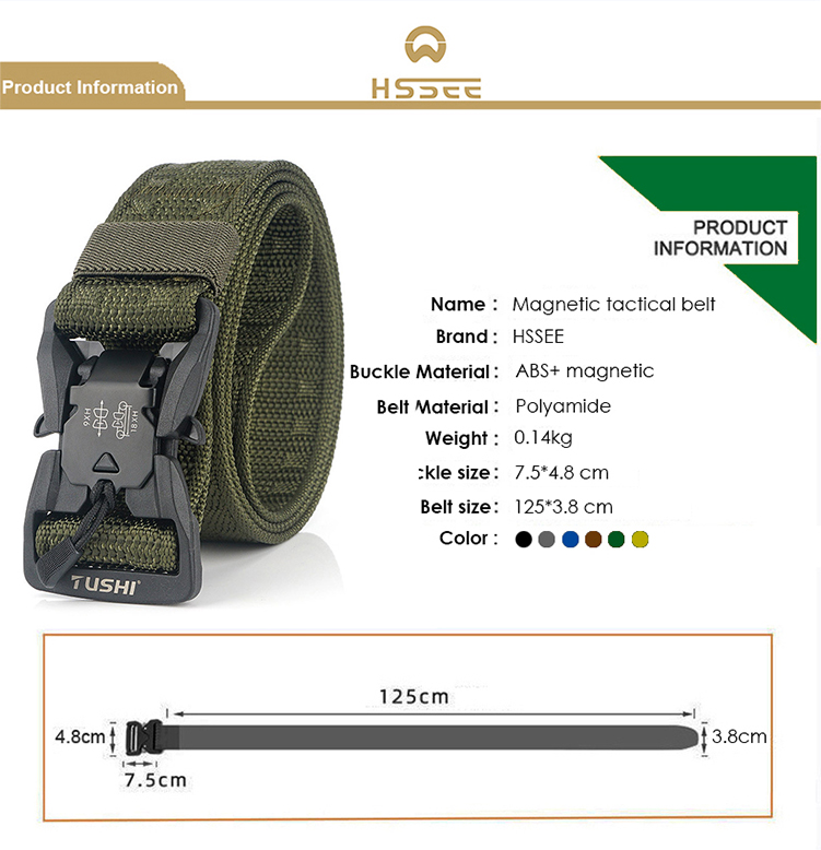 H23ca834a832f4813a5018b093100c3e9M - HSSEE Official Genuine Tactical Belt Hard ABS Quick Release Magnetic Buckle Military Belt Soft Real Nylon Sports Accessories