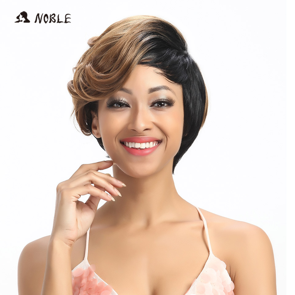 Noble Synthetic Hair Wigs 10 Inch Short Wavy Blonde Wigs For Black Women Free Shipping Heat Resistant Synthetic Hair Wig
