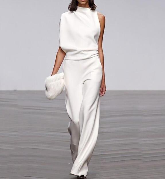 2020 Hot Sale One Shoulder Jumpsuits Summer Sleeveless  Wide Leg Pants Elegant Lady Casual Rompers White Black
