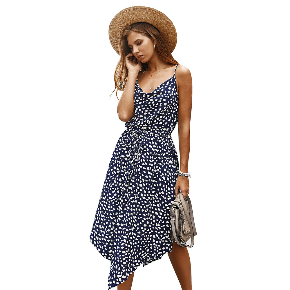 New Arrival Summer Dress Women Asymmetrical Spaghetti Straps V-Neck Sleeveless Ruched Printed Casual Dress Vestido De Festa 2020 4