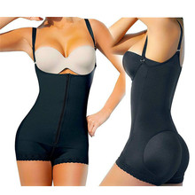 shapewear women Latex rubber body-shaping clothes zipper conjoined postpartum  butt and hip enhancement